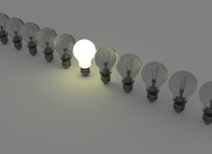 high and low idea light bulbs